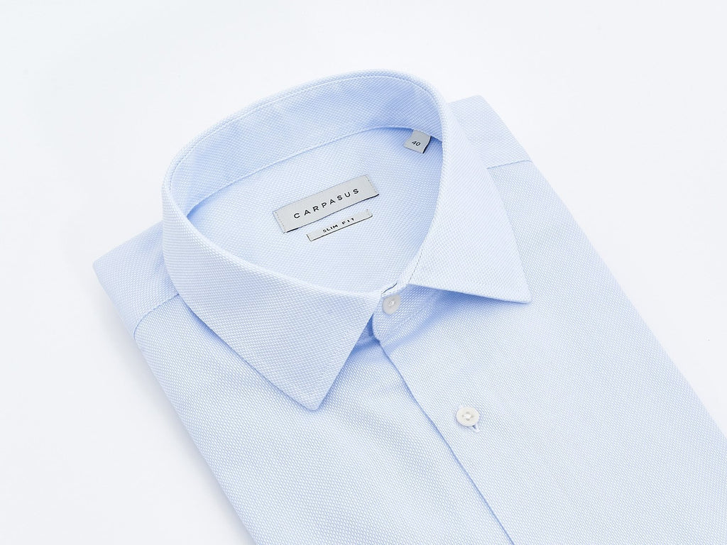 carpasus sustainable organic cotton tailor-made shirt porto lightblue. Nachhaltiges Carpasus Masshemd aus Bio Baumwolle Porto Hellblau