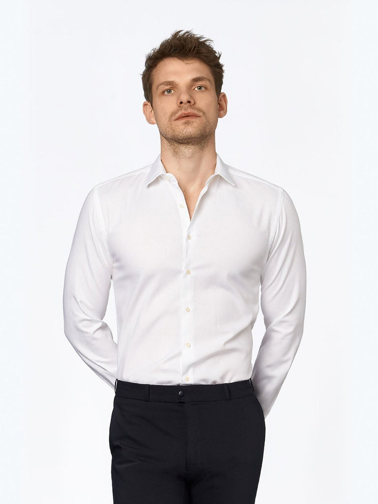carpasus sustainable organic cotton tailor-made shirt porto white. Nachhaltiges Carpasus Masshemd aus Bio Baumwolle Porto Weiss