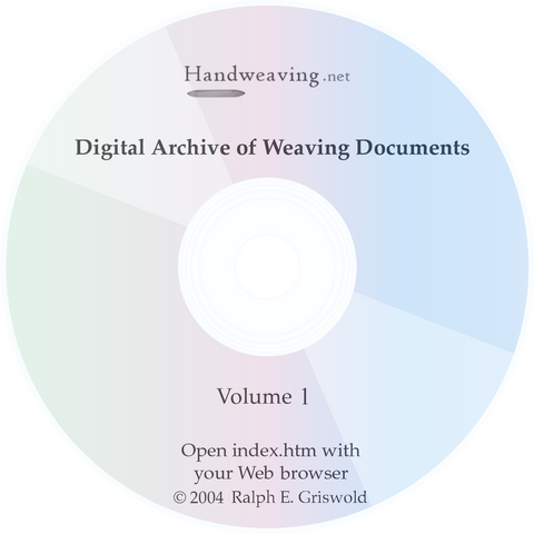 Historic Weaving Archive Volume 1 CD