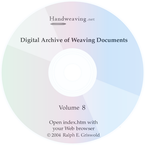 Historic Weaving Archive Volume 8 CD