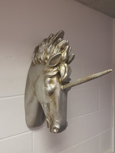 Large Silver Finish Unicorn Wall Head