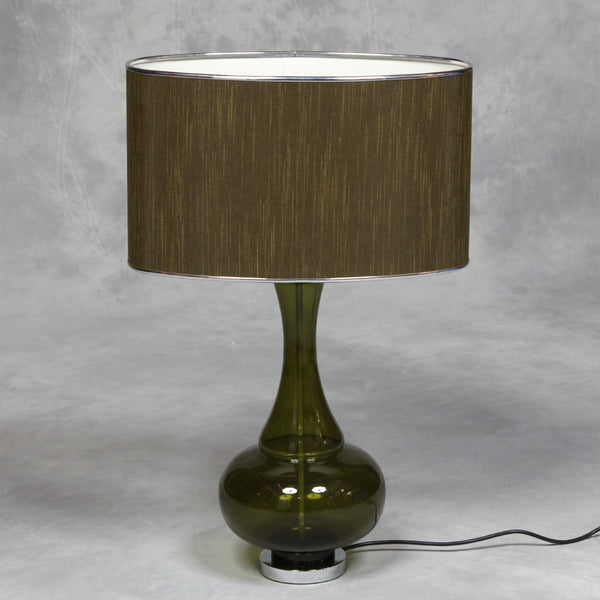 Glass Bulbous Lamp With Silk Thread Shade - Available in Blue, Green and Silver