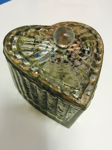 Ameena Mercury Glass Lidded Heart Box
