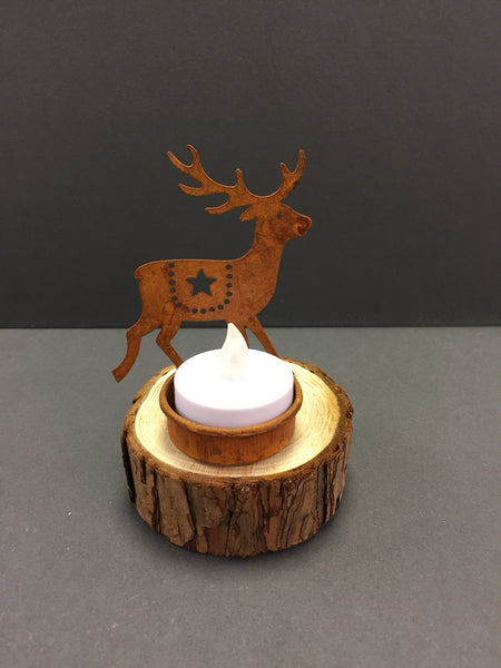 Rustic look Tealight Holder on a Wooden Base
