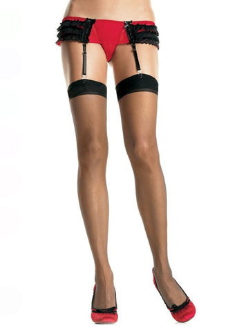 Sheer Thigh High Stockings -Black