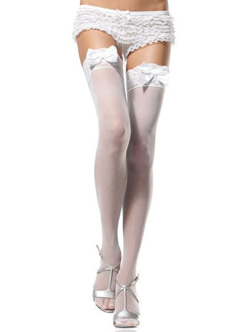 Bow Top Sheer Thigh Highs - White