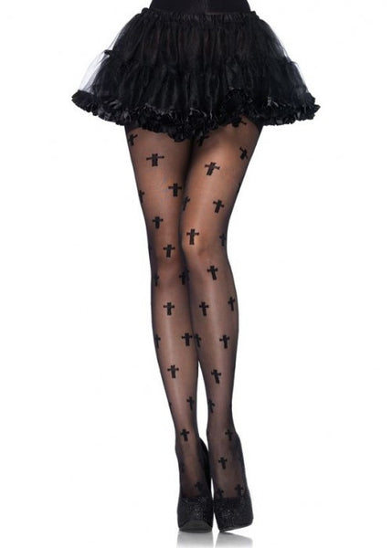 Sheer Cross Pattern Pantyhose