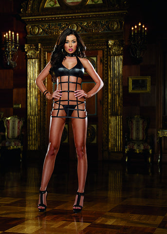Faux Leather Lattice Chemise