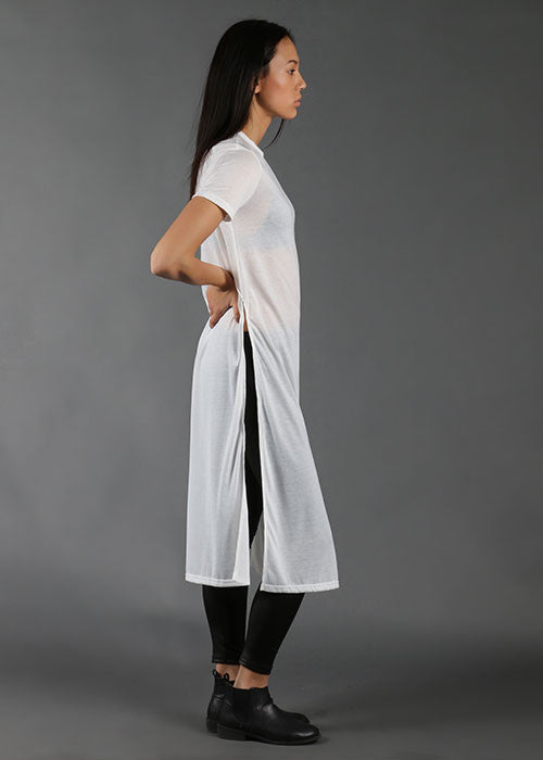 Long Side-Slit Top - White