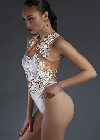 Bloom Embroidered Bodysuit - White