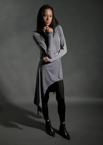 The Asymmetrical Flowy Tunic - Grey