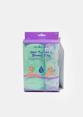 Hair Turban & Shower Cap Set- Mint