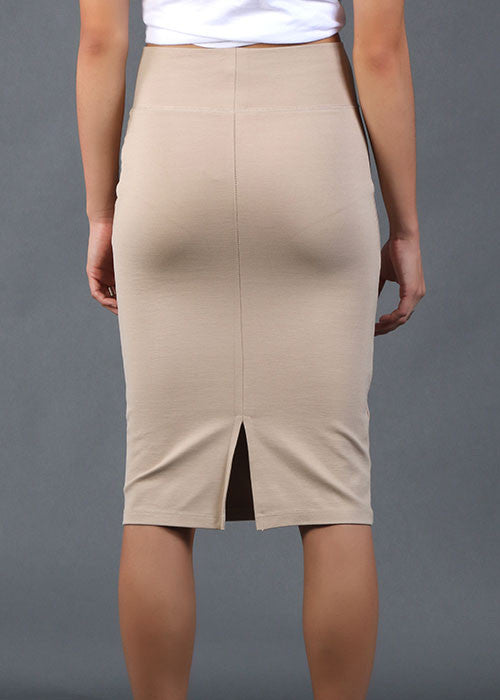 High-Waisted Pencil Skirt - Nude