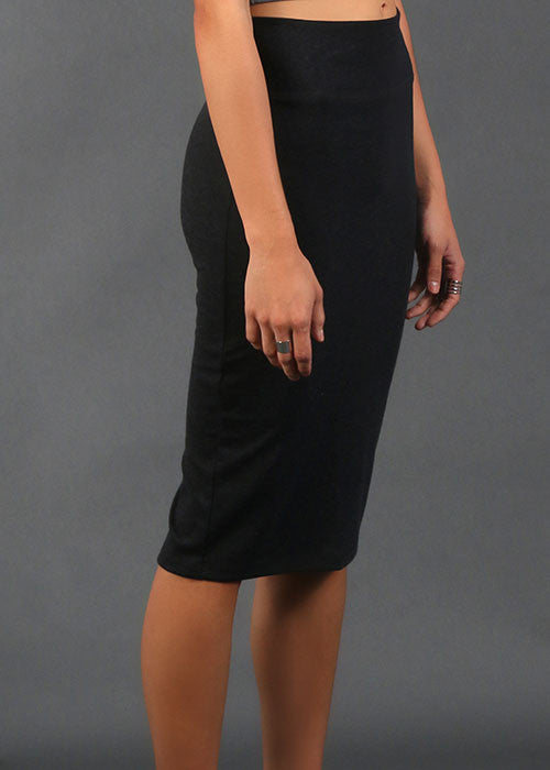 High-Waisted Pencil Skirt - Charcoal