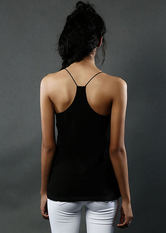 The Flowy Silk Cami - Black