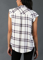 Button Up Plaid Top - Blue & White