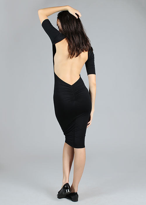 Modal Low Cut Open Back Midi Dress  - Black