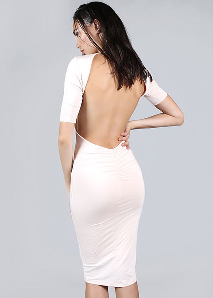 Modal Low Cut Open Back Midi Dress - Blush Pink