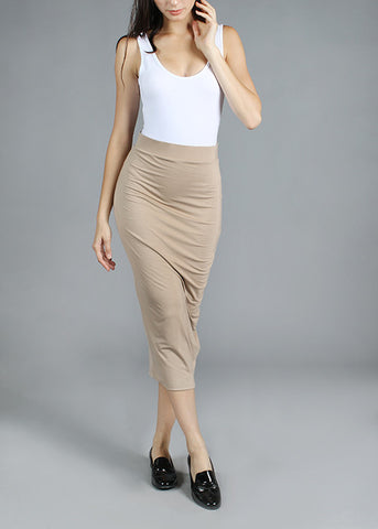 Modal Full Double Layered Pencil Midi Skirt - Coco