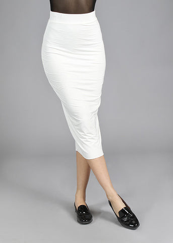 Modal Full Double Layered Pencil Midi Skirt - Ivory