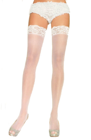 Nylon Sheer Thigh Highs w/ Lace Top - White