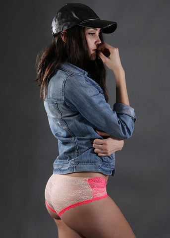 Rosy Lace Panty - Hot Pink & Cream