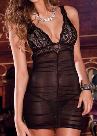 Ruched Sheer Black Mesh Mini Dress Set