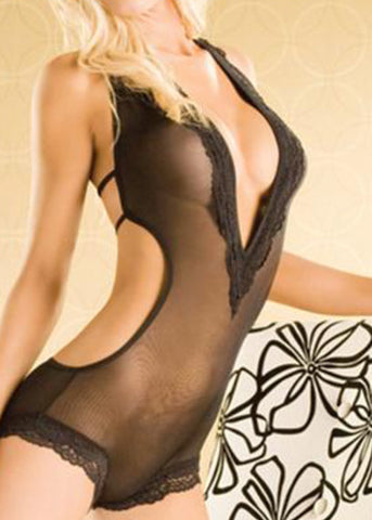 Black Lace Foxy Lady Teddy