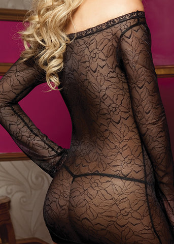Stretchy Black Lace Long Sleeved Mini Dress Set