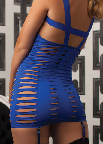 Blue Seamless Cut Out Dress