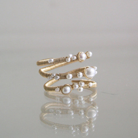 White Pearl 14k Gold Filled Ring