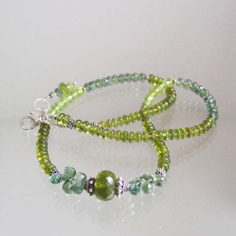 Vesuvianite Gemstone Sterling Necklace with Peridot and Apatite