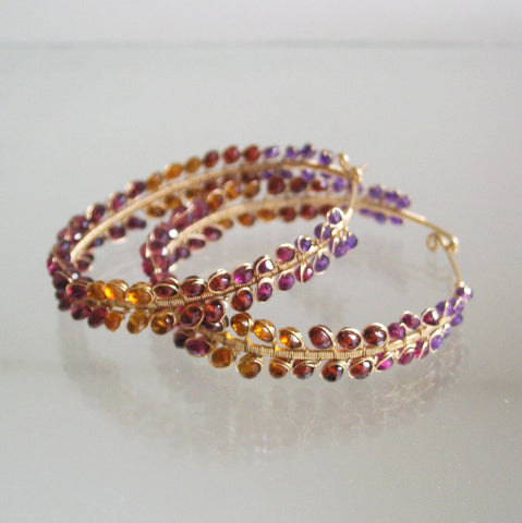 Dramatic Garnet Hoops in 14k Gold Fill with Amethyst and Spessartite