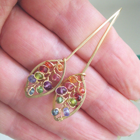 Rainbow Gemstone GF Leaf Earrings with Sapphire, Spinel, Amethyst