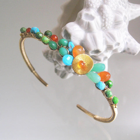 Chrysoprase Turquoise Gold Filled Cuff Bracelet