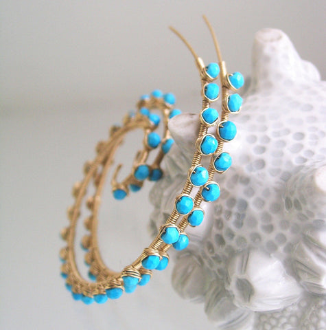 Large Turquoise Gemstone Studded 14k GF Spiral Earrings