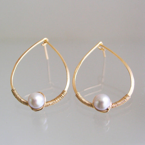 Pearl Teardrop GF Post Earrings, Pale Gray Pearls