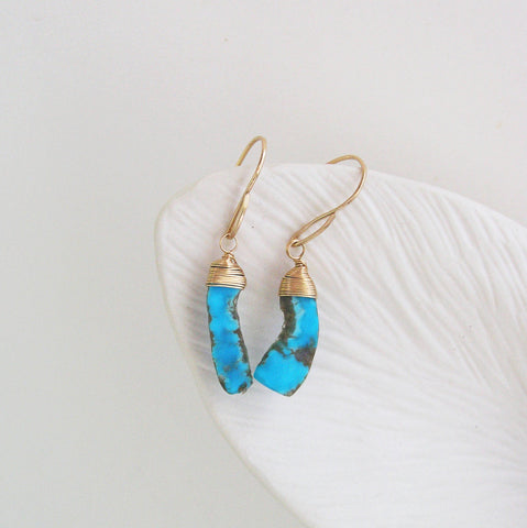 Turquoise GF Dangle Earrings, Small