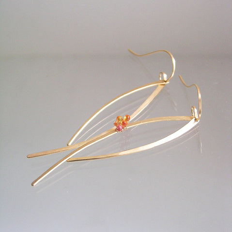 Gold Filled Orange Sapphire Curved Swingy Earrings