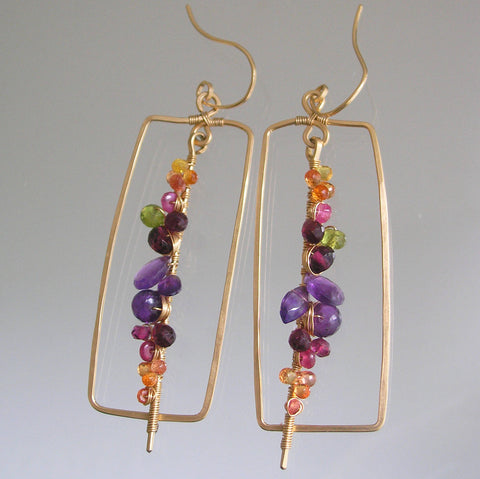 Multi Gemstone Rectangular GF Earrings with Amethyst, Sapphire