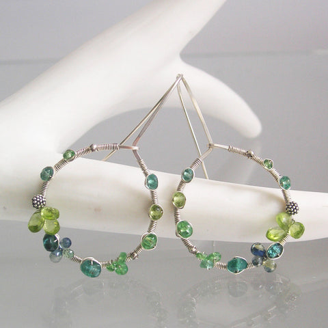 Emerald Peridot Sterling Silver Hoop Earrings with Sapphire, Tsavorite, Vesuvianite