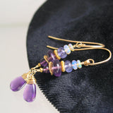 Amethyst and Tanzanite Dangle Earrings in 14k Gold Fill with Opals