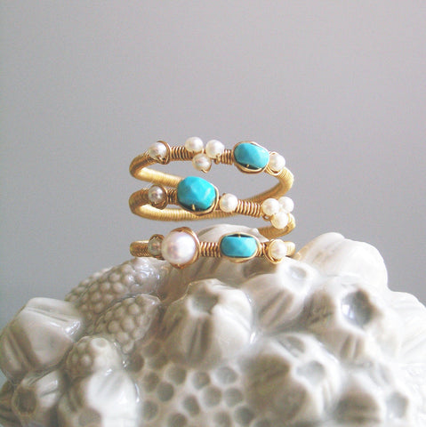 Turquoise and Pearl GF Ring