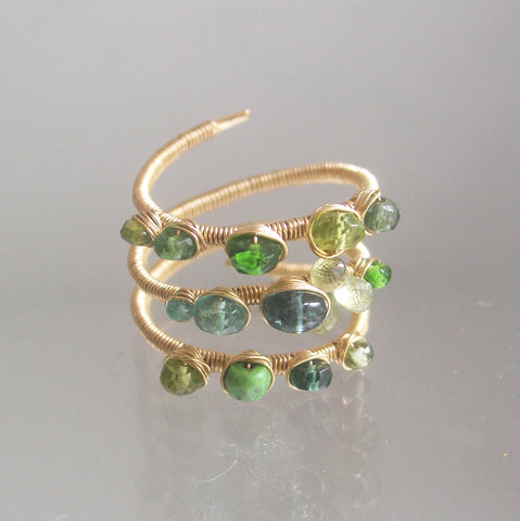 Multi Green Gemstone 14k Gold Filled Ring with Apatite, Sapphire, Size 8