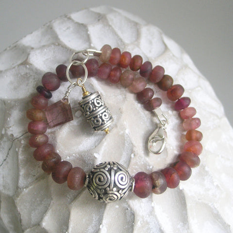 Tourmaline Sterling Beaded Bracelet, Matte Raw Gemstone with Centered Balinese Bead