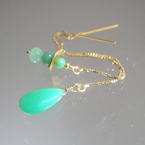 SOLD.  Chrysoprase 14k Gold Filled Threader Earrings