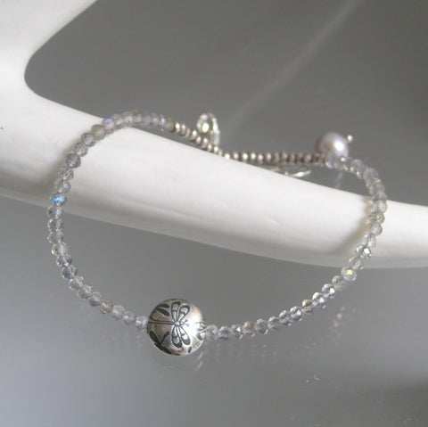 Skinny Labradorite Bracelet with Sterling Silver Dragonfly Bead
