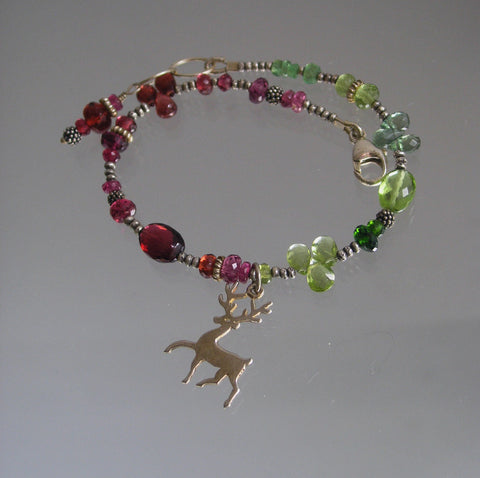 Reindeer Charm Gemstone Sterling Bracelet with Garnet, Peridot, Vesuvianite