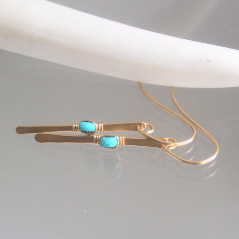 Modern Turquoise Gold Filled Linear Earrings