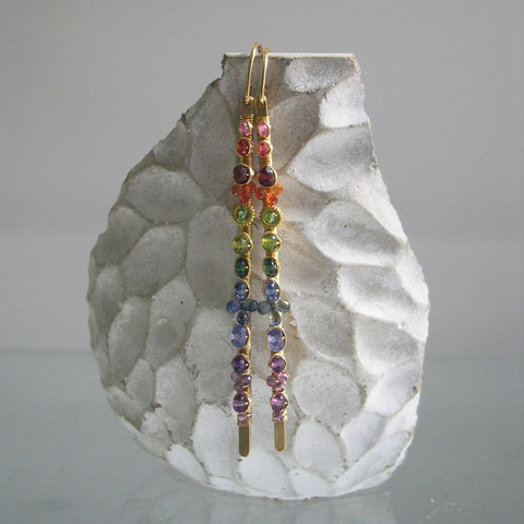 Long Rainbow Gemstone Earrings in 14k Gold Fill with Sapphires, Tanzanite, Amethyst